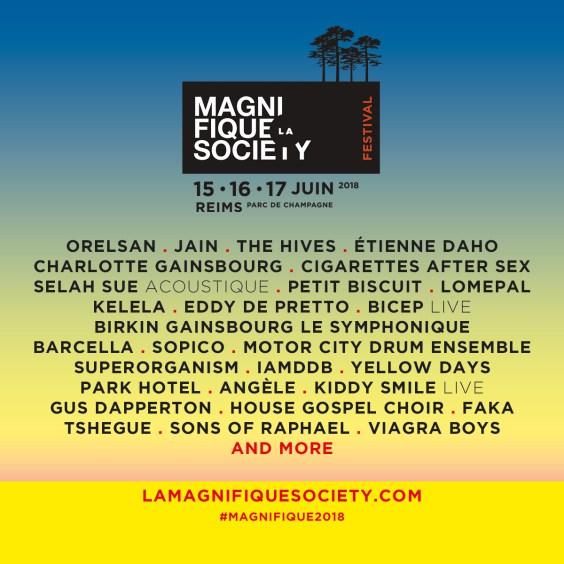 Le festivalLa Magnifique Society : les 15, 16 et 17 juin 2018 au Parc de Champagne de Reims cacestculte