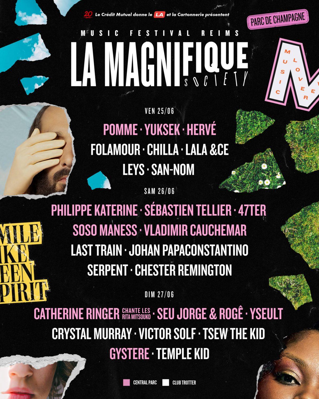 L'équipe du festival LA MAGNIFIQUE SOCIETY vous donne rendez vous les 25,26 et 27 juin 2021, dans le cadre bucolique du Parc de Champagne à Reims